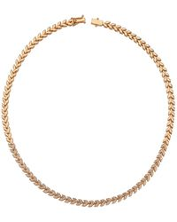 Bee Goddess Rose Gold And Diamond Secret Garden Wheat Necklace - White