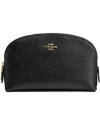 COACH Leather Cosmetic Case - Black