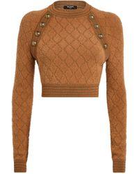 Balmain Knitted Crop Top - Natural
