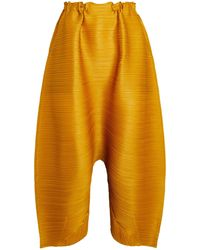 Pleats Please Issey Miyake Cropped Wide-leg Pants - Natural