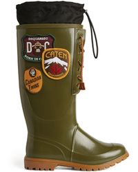 DSquared² Logo Patch Wellington Boots - Green