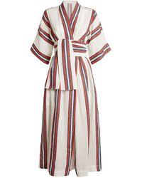 Three Graces London Striped Charita Wrap-around Dress - Natural