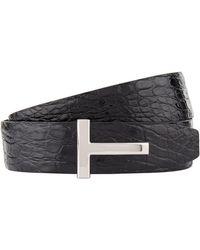 Tom Ford - Reversible Crocodile Embossed Leather Belt - Lyst