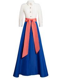 Carolina Herrera Colour-block Gown - Blue