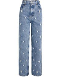 Sandro Embroidered Floral Jeans - Blue