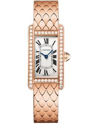 Cartier - Small Pink Gold And Diamond Tank Amricaine Watch - Lyst