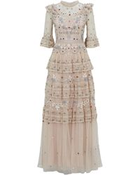 Needle & Thread Eden Beaded Lace Gown - Pink