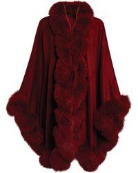 Harrods Fox Fur-trim Cashmere Cape - Red
