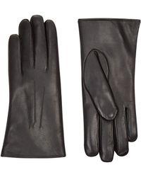 Harrods Rabbit Fur Lined Leather Gloves - Black