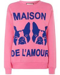 Gucci - Maison De L'amour Cotton Sweatshirt - Lyst