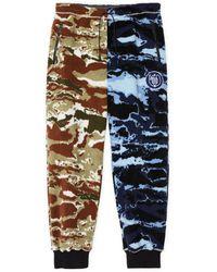Loewe Fleece Camouflage Print Joggers - Blue