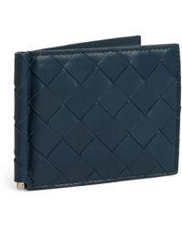 Bottega Veneta Leather Intrecciato Money Clip Bifold Wallet - Blue