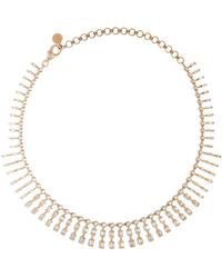 SHAY Rose Gold And Diamond Triple Dot-dash Necklace - White