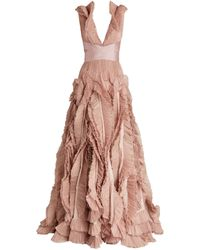 Maria Lucia Hohan Ruffle-detail Alice Gown - Pink