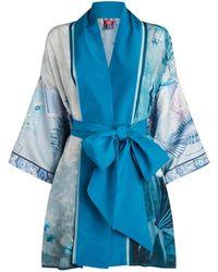 F.R.S For Restless Sleepers Printed Silk Kimono - Blue