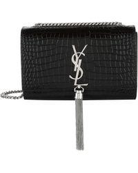 Saint Laurent Classic Kate Monogram Tassel Chain Leather Shoulder Bag - Black