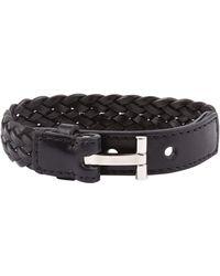 Tom Ford Leather Braided Bracelet - Black
