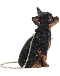 Judith Leiber Chihuahua Mickey Dog Clutch - Black