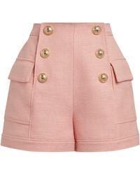 Balmain High-rise Button Shorts - Pink