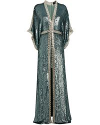 Jenny Packham Pearl-embellished Christie Coat Gown - Green