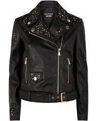 Boutique Moschino - Leather Star Studded Biker Jacket - Lyst