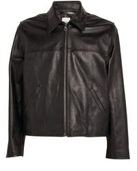 Paul Smith Painted Stripe Leather Jacket - Black