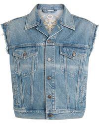 Gucci Embroidered Denim Sleeveless Jacket - Blue