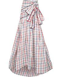 Rosie Assoulin Triple Tie Grid Skirt - Blue