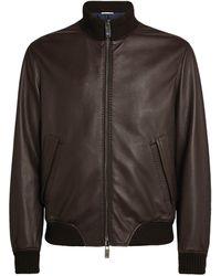 Pal Zileri Leather Bomber Jacket - Brown