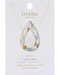 Orelia - April Birthstone Necklace - Lyst
