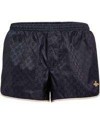 Gucci GG Supreme Bee Swim Shorts - Blue