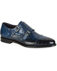 Santoni Alligator Monk Shoe - Blue