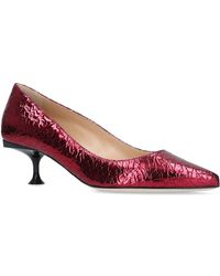 Sergio Rossi - Metallic Crinkled Court Shoes 100 - Lyst