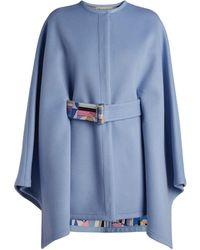 Emilio Pucci Belted Cape Coat - Blue