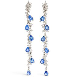Suzanne Kalan - White Gold, Diamond And Sapphire One Of A Kind Drop Earrings - Lyst