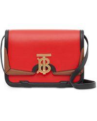 Burberry - Small Appliqué Leather Tb Bag - Lyst