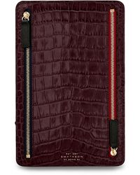 Smythson Leather Mara Zipped Currency Case - Red
