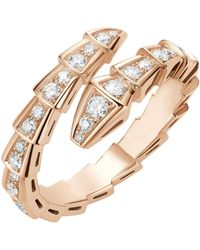 BVLGARI Rose Gold And Diamond Serpenti Ring - Metallic