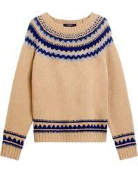 Weekend by Maxmara Wool Fair Isle Sweater - Yellow