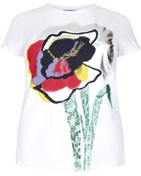 Marina Rinaldi - Printed Cotton T-shirt - Lyst