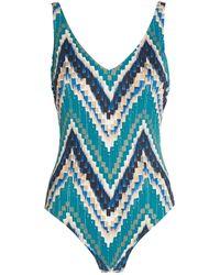 Gottex Zigzag Print V-neck Swimsuit - Blue