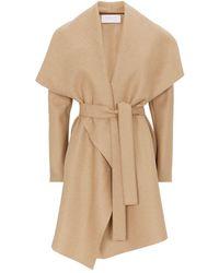 Harris Wharf London Pressed Wool Belted Coat - Brown