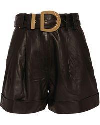Balmain Leather High-waist Belted Shorts - Black