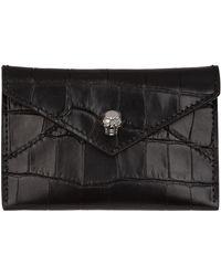 Alexander McQueen - Croc Embossed Leather Card Holder - Lyst