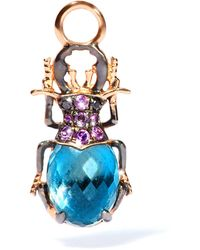 Annoushka Rose Gold Mythology Beetle Earring Drop - Blue