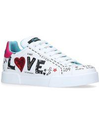 39ecaefb27a6 Dolce   Gabbana - Love Graffiti Logo Sneakers - Lyst