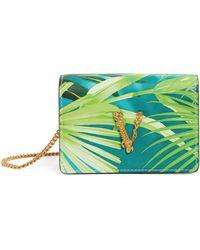 Versace Mini Jungle Print Virtus Chain Wallet - Green