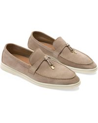 Loro Piana Suede Charm-detail Summer Walk Loafers - Multicolour