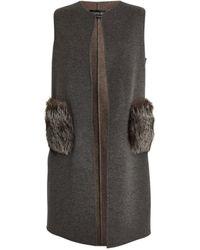 Harrods Fox Fur-pocket Gilet - Grey