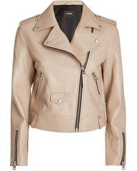Mackage Leather Biker Jacket - Natural
